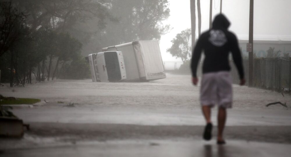 A truck is seen turned over as Hurricane Irma passes south Florida, in Miami, U.S