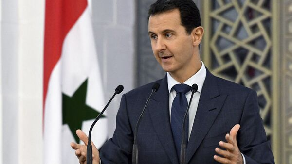Syrian President Bashar Assad speaks to dozens of Syrian diplomats, in Damascus, Syria (File) - Sputnik International