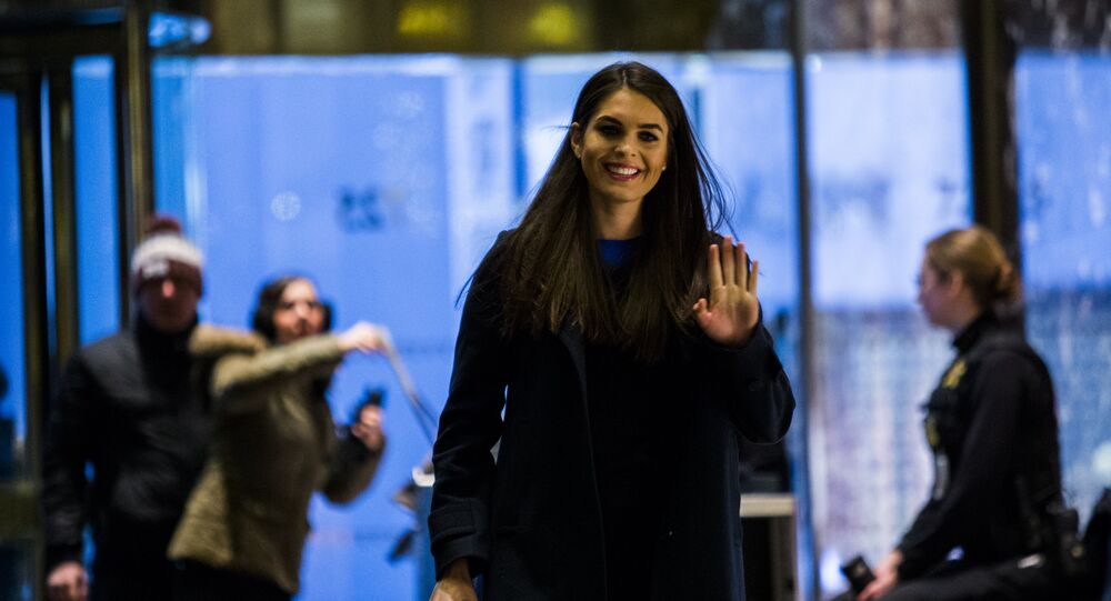 Communications Director Hope Hicks arrives at Trump Tower for meetings with President-elect Donald Trump on January 2, 2017 in New York