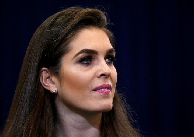Republican presidential nominee Donald Trump's press secretary Hope Hicks is pictured during a campaign event in Phoenix, Arizona, U.S. October 29 2016