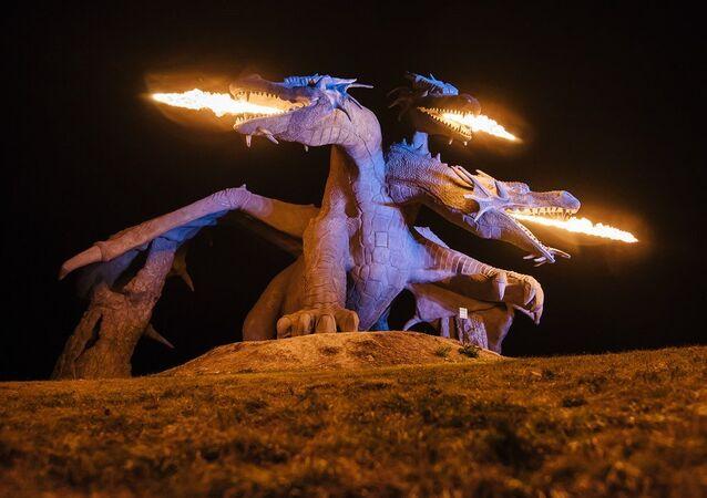 Zmey Gorynych sculpture in Lipetsk Region, Russia
