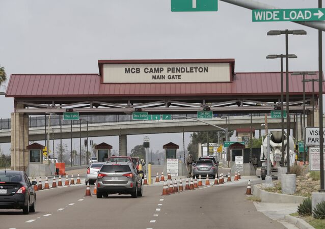 The entrance to Marine Corps base Camp Pendleton in Oceanside, California