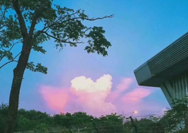Spectacular pinkish heart-shaped cloud seen in southeast China
