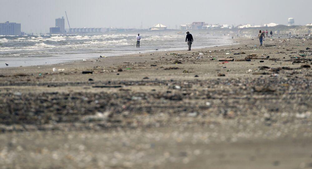 A beach in Texas after Hurricane Harvey
