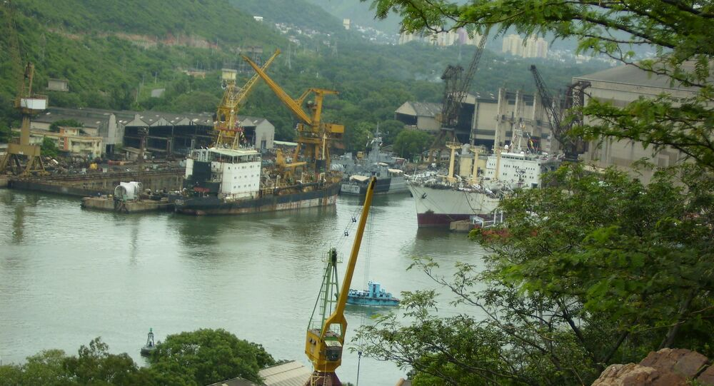 A view of the Hindustan Shipyard in Visakhapatnam
