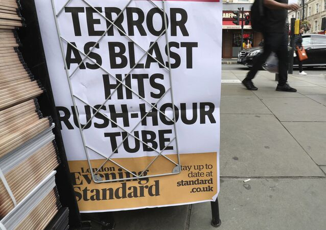 A London evening newspaper stand displays their headline outside Paddington tube station in London, after a terrorist incident was declared at Parsons Green subway station Friday, Sept. 15, 2017.