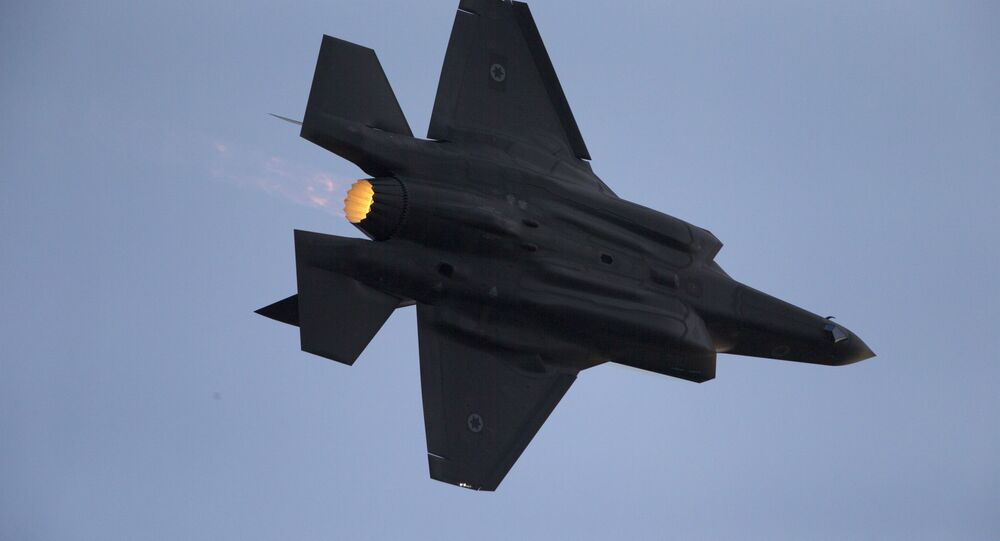 An Israeli Air Force F-35 warplane performs during a graduation ceremony for new pilots at Hatzerim Air Force Base near the city of Beersheba, Israel, 29 December 2016.