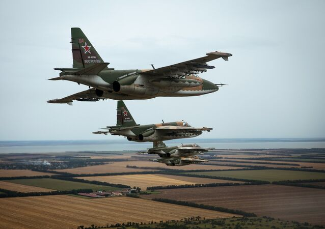 Flight training of Sukhoi Su-25 crews in Russia's Primorsko-Akhtarsk. File photo