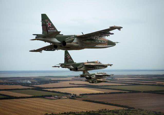 Flight training of Sukhoi SU-25 crews in Primorsko-Akhtarsk