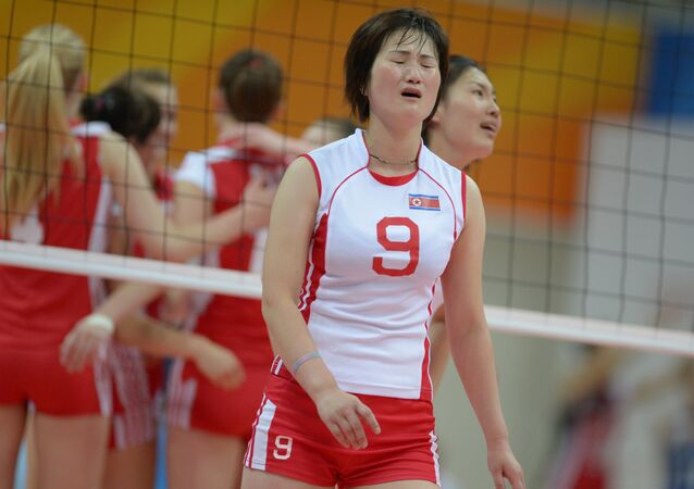 Hui Pom Ri (DPRK) after the quarterfinals in women's volleyball between the national teams of the Democratic People's Republic of Korea and Poland at the 27th World University Summer Games in Kazan. File photo
