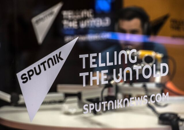 Stand of the Sputnik news agency, news websites and radio broadcast service. File photo