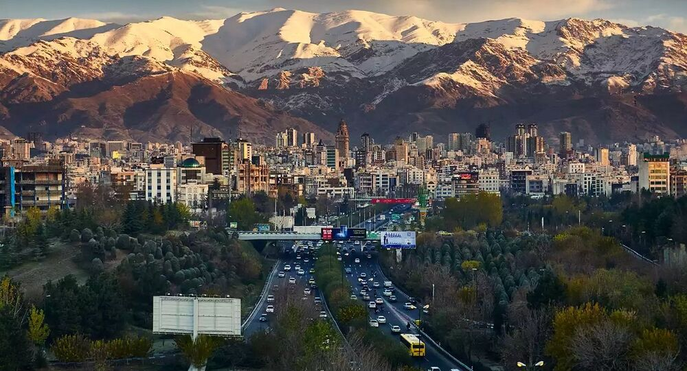 Tehran, Iran, skyline showing Alborz mountain range in the distance