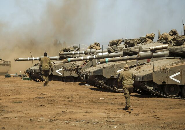 Israel's Merkava tanks seen during military drills in the Golan Heights on September 13, 2017