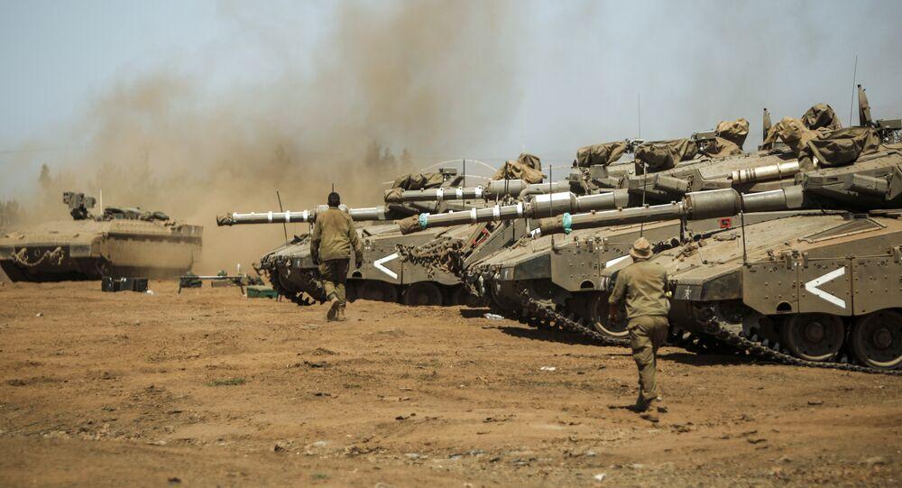 Israel's Merkava tanks seen during military drills in the Golan Heights on September 13, 2017