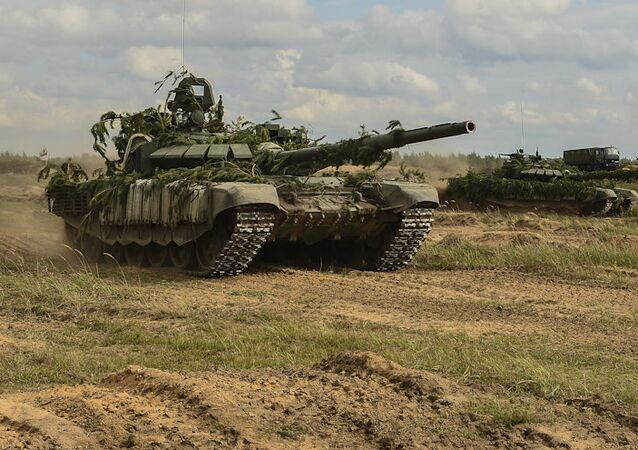T-72B3 tanks seen during the Zapad-2017 military drills. File photo
