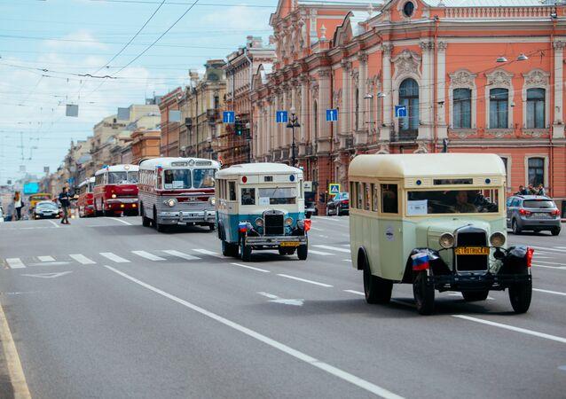 Bus parade in St. Petersburg