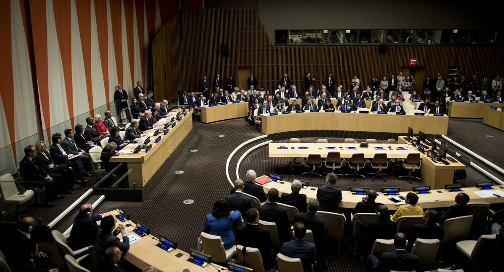 US President Donald Trump and others attend a meeting on United Nations Reform at the UN headquarters in New York City