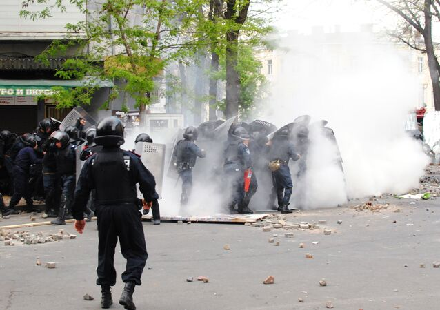 The explosion of a smoke grenade in Grecheskaya Street near Grecheskaya Square in Odessa. (File)