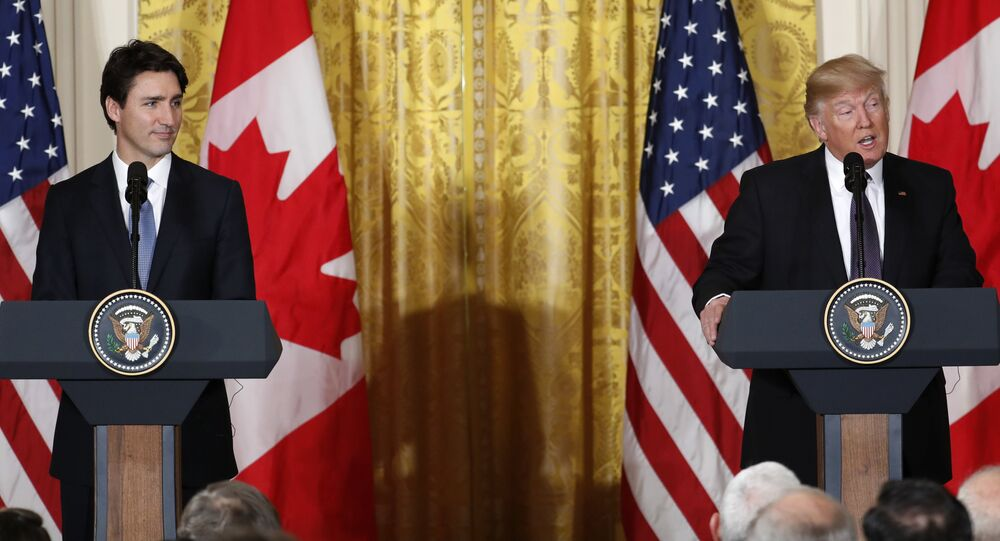 President Donald Trump and Canadian Prime Minister Justin Trudeau participate in a joint news conference in the East Room of the White House in Washington, Monday, Feb. 13, 2017.
