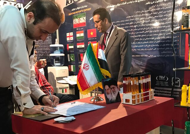 A stand of the Islamic Republic of Iran at the 59th Damascus International Fair which was opened for the first time since the armed conflict in Syria broke out.