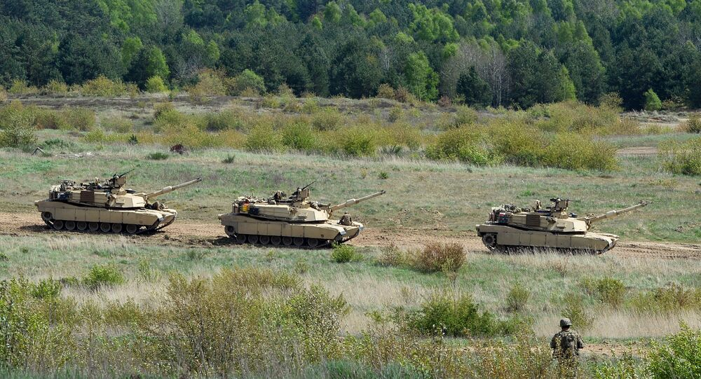 US troops with Abrams tanks. (File)