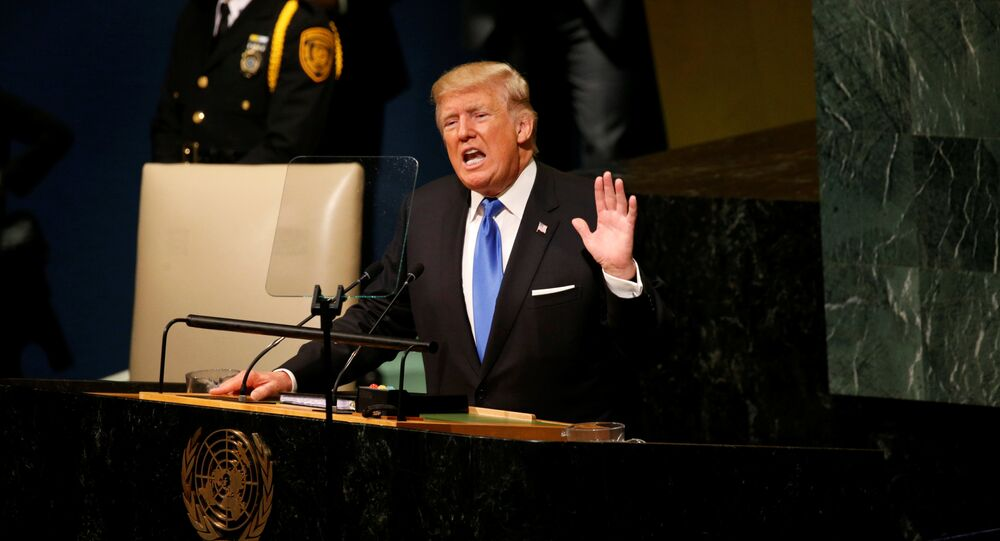 U.S. President Donald Trump delivers his address to the United Nations General Assembly in New York, U.S., September 19, 2017