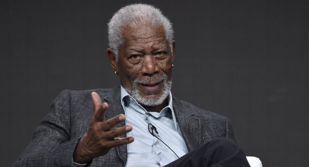 Morgan Freeman participates in The Story of Us With Morgan Freeman panel during the National Geographic Television Critics Association Summer Press Tour at the Beverly Hilton in Beverly Hills, Calif