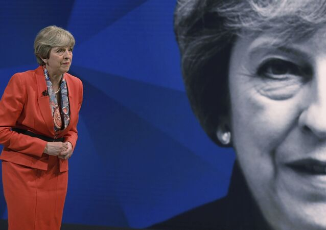 Britain's Prime Minister Theresa May takes part in a general election broadcast, in London, Monday May 29, 2017.