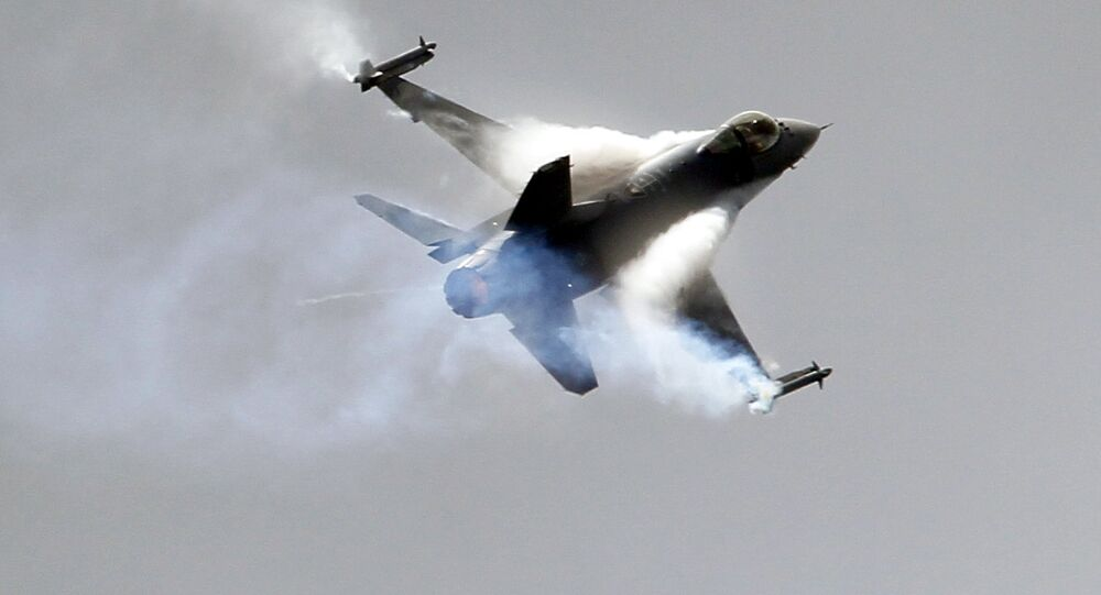 A Lockheed Martin F16 Jet fighter performs its demonstration flight at the 49th Paris Air Show at le Bourget airport, east of Paris, Wednesday June 22, 2011.