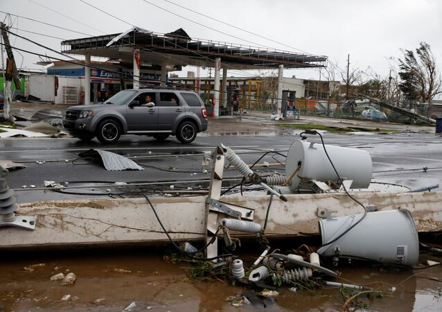 Damaged electrical installations are seen after the area was hit by Hurricane Maria en Guayama, Puerto Rico September 20, 2017
