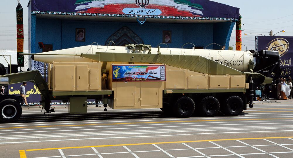 The new Iranian long range missile Khoramshahr is displayed during the annual military parade marking the anniversary of the outbreak of its devastating 1980-1988 war with Saddam Hussein's Iraq, on September 22,2017 in Tehran