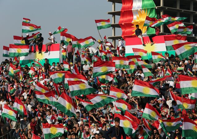 Kurds celebrate to show their support for the upcoming September 25th independence referendum in Erbil, Iraq