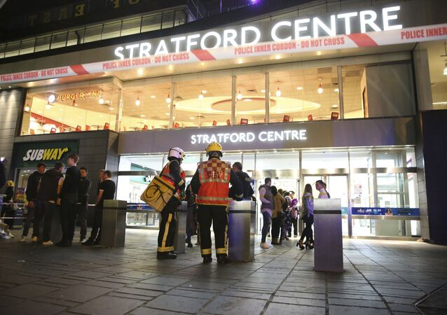 Emergency services at Stratford Centre in east London, following a suspected noxious substance attack where six people have been reported injured, Saturday Sept. 23, 2017