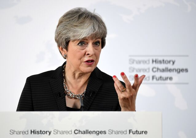 Britain's Prime Minister Theresa May speaks at the Complesso Santa Maria Novella, Florence, Italy September 22, 2017