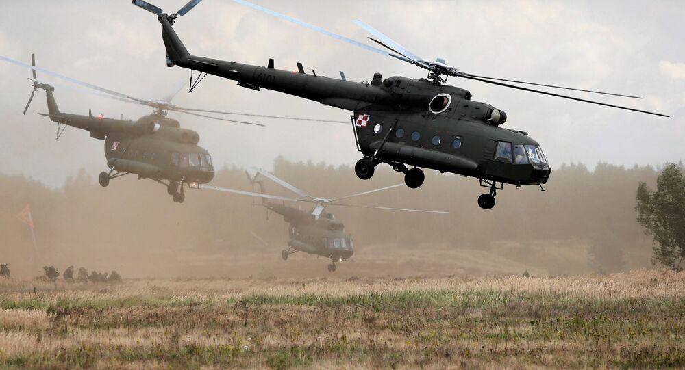 Polish Mi-17 helicopters are seen during Dragon-17 military exercises at the military range near Drawsko Pomorskie, Poland, September 21, 2017