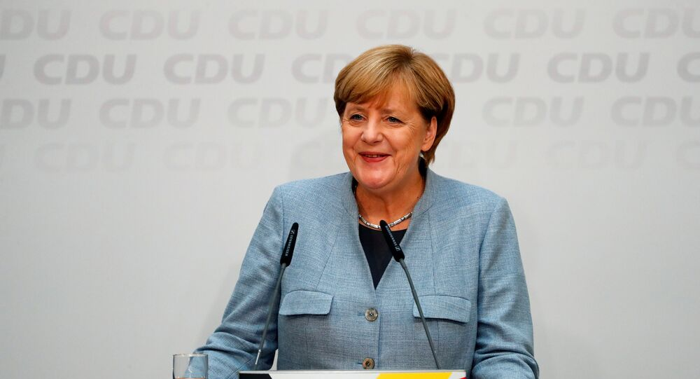 Christian Democratic Union CDU party leader and German Chancellor Angela Merkel addresses a news conference at the CDU party headquarters, a day after the general election (Bundestagswahl) in Berlin, Germany September 25, 2017