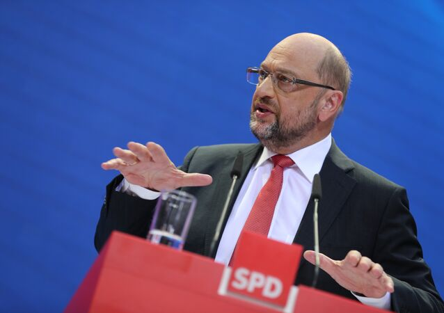 Social Demoratic Party top candidate for chancellor, Martin Schulz, speaks at the party's headquarters in Berlin, Germany, Monday, Sept. 25, 2017 one day after the parliament elections