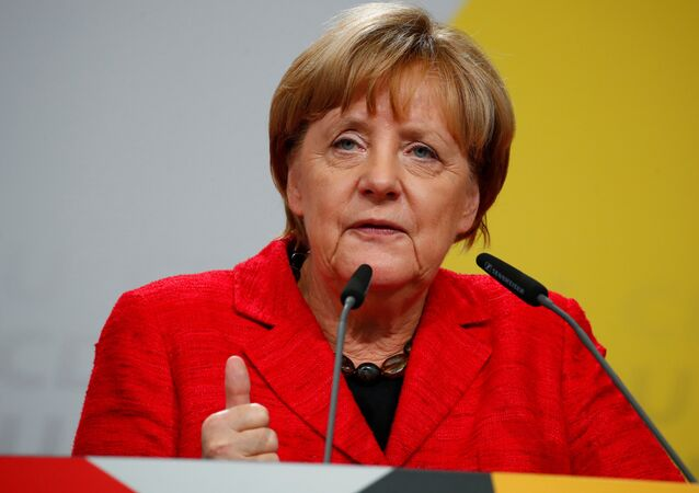 German Chancellor Angela Merkel, a top candidate of the Christian Democratic Union Party (CDU) for the upcoming general elections, speaks at an election rally in Schwerin, Germany, September 19, 2017.