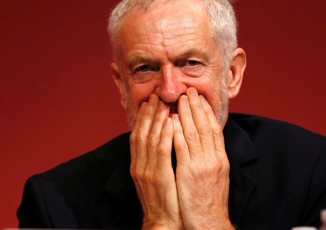 Britain's opposition Labour Party leader, Jeremy Corbyn, listens to a speech by shadow foreign secretary, Emily Thornberry at the Labour Party Conference in Brighton, Britain, September 25, 2017.
