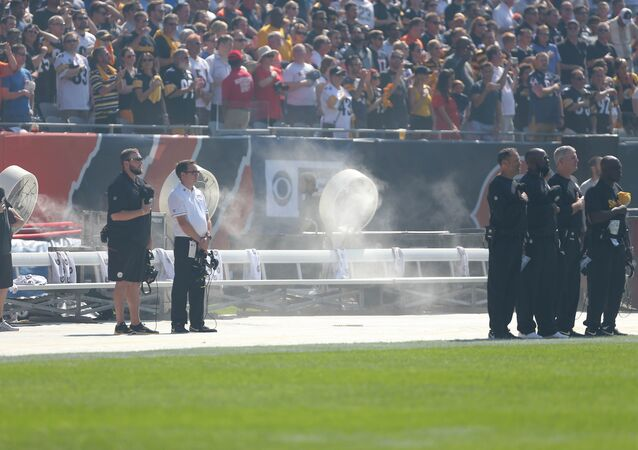 A general shot of an empty Pittsburgh Steelers bench during the National Anthem prior to a game against the Chicago Bears at Soldier Field.