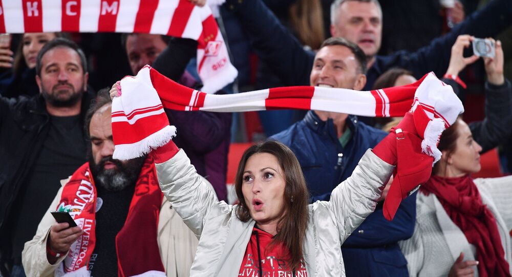 Spartak fans cheer up their team at the UEFA Champions League group stage match Spartak Russia vs. Liverpool England. File photo