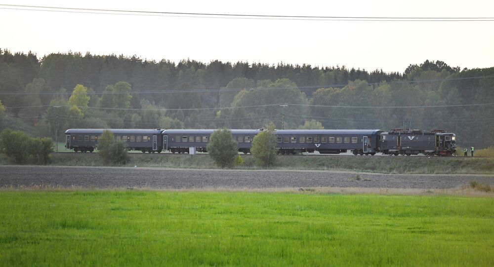 A passenger train collided with a tank and derailed, where the Swedish Military exercise Aurora 17 is taking place, near Trosa, south of Stockholm, Sweden, September 26, 2017