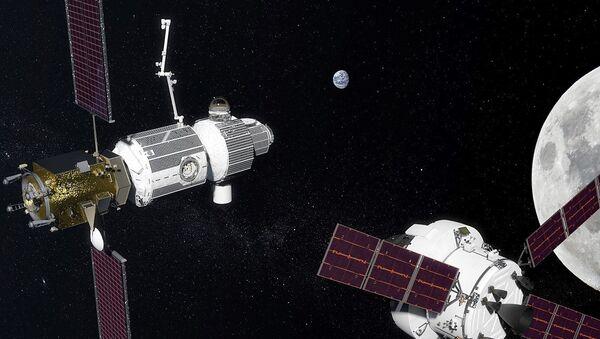 Deep Space Gateway in lunar orbit as proposed in 2017 - Sputnik International