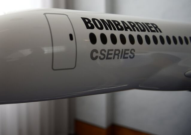 A model of Bombardier C Series aeroplane is seen in the Bombardier offices in Belfast, Northern Ireland September 26, 2017.
