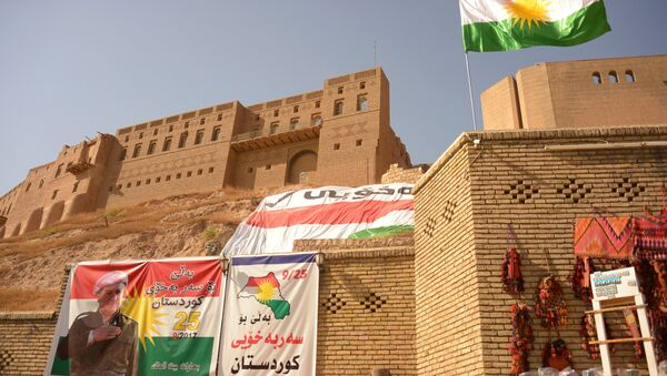 Banners calling for voting in a referendum on Iraqi Kurdistan independence from Baghdad in Erbil - Sputnik International
