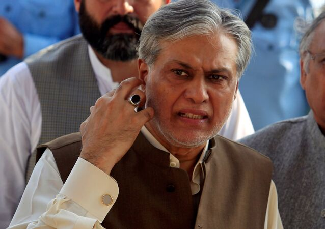 Pakistan's Finance Minister Ishaq Dar is seen after a party meeting in Islamabad, Pakistan September 26, 2017.