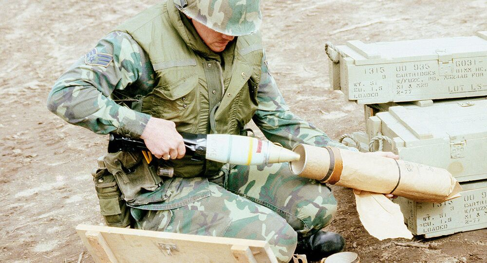 US soldier with phosphorus shell