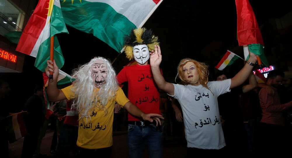 Kurdish people celebrate to show their support for the upcoming September 25th independence referendum in Erbil, Iraq September 8, 2017.
