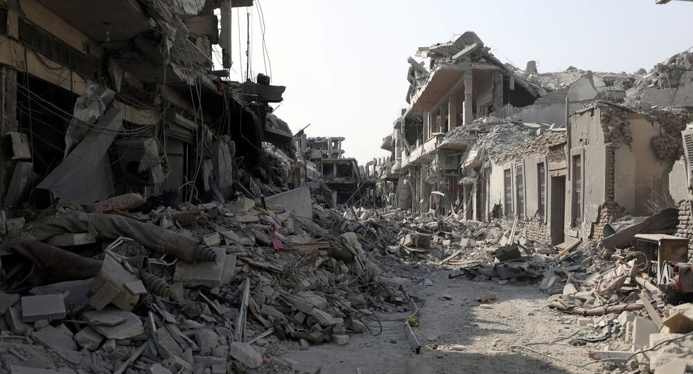 A view of a damaged site is seen in Raqqa, Syria September 16, 2017