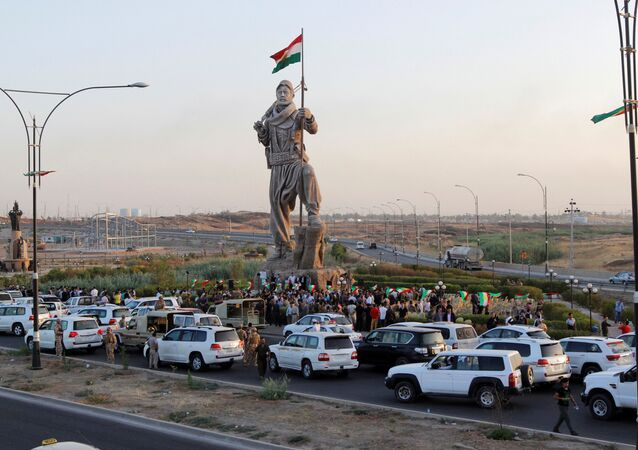 Newly unveiled statue in Kirkuk pays tribute to the Peshmerga, Iraqi Kurdistan's main fighting forces in Kirkuk, Iraq September 23, 2017